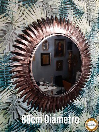 Espejo Sol Metalico 88cm Diámetro Cobre Envejecido