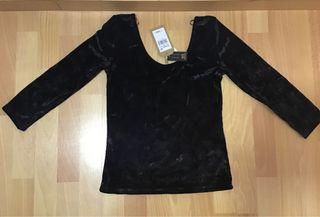 Blusa nuvo de terciopelo color negro