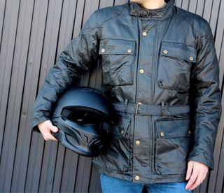 Chaqueta de piel LEM para moto. Talla M/L