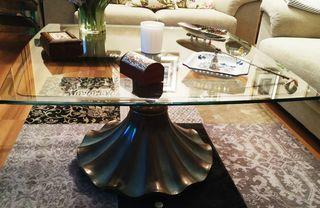 Mesa de centro de cristal y bronce