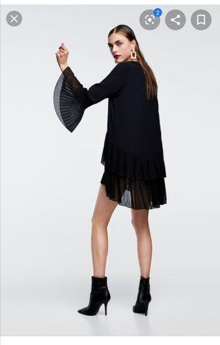 vestido camisero zara negro