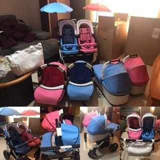 carro gemelar rosa/azul