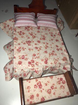 Casa de muñecas habitación cama