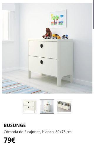 cómoda de 2 cajones Blanca 80x75