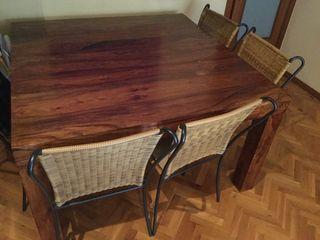 Mesa comedor cuadrada + 8 sillas hierro