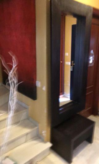 Mueble entrada espejo y mesita con cajon