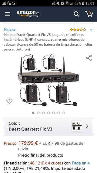 Micrófonos inalámbricos Amazon Malone alcance 50 m