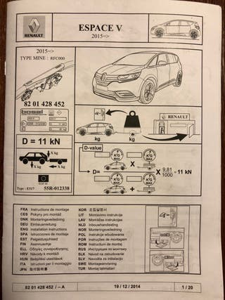 Gancho de remolque Original Renault Espace 2018
