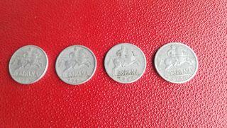 4 monedas de 10 céntimos, distintas