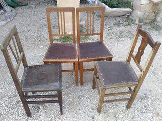 sillas antiguas de madera