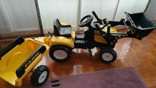 excavadora con pedales y remolque para niños