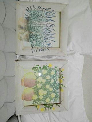 Pareja de cuadros flores