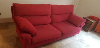 Sofá 2 plazas color rojo-granate