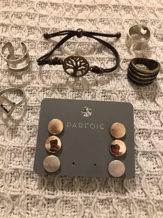 Pulsera, pendientes y anillos nuevos, parfois,pack