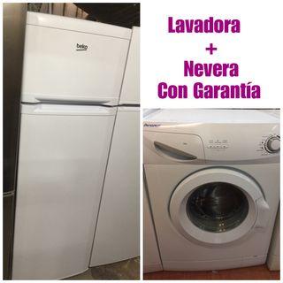 Lavadora + Nevera con garantía