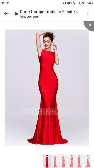 vestido de fiesta largo rojo