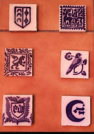 6 olambrillas, azulejos antiguos