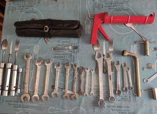 lote de herramientas + porta herramientas de cuero