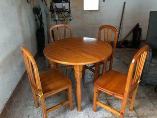 Mesa + sillas madera