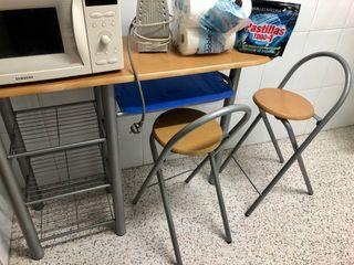 Mesa alta de cocina+2 sillas