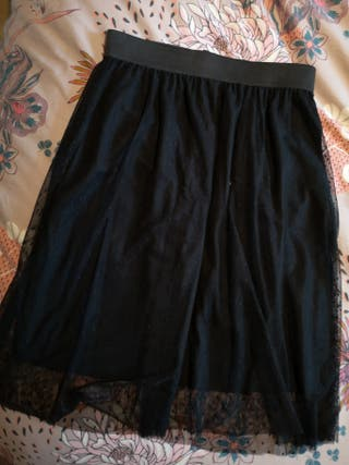 falda midi negra tul plumeti