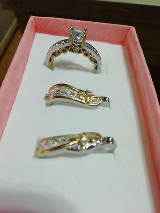 conjunto anillo y pendientes plata de ley