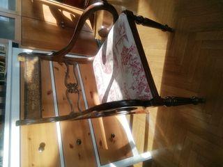 sillas de madera noble con brazos, 4