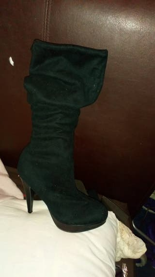 Black Velvet Knee High Boots.