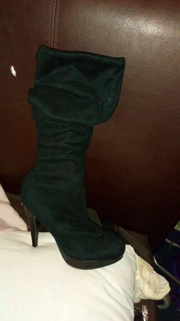 Black Velvet Knee High Boots.