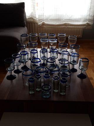juego vasos cristalería artesana (34 piezas)