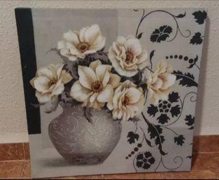 cuadro jarrón con flores 50 x 50 cm