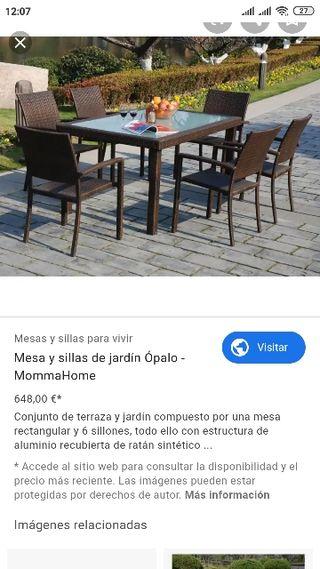 mesa y sillas para jardín o patio