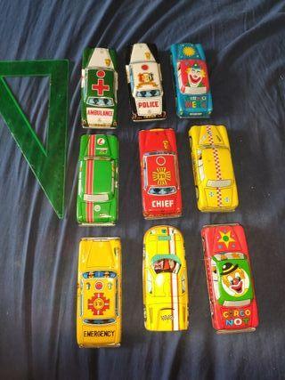 lote 9 coches de chapa antiguos