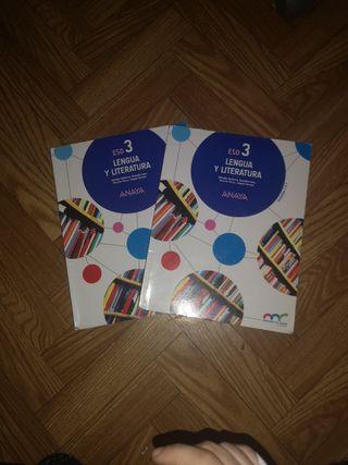 2 libros LENGUA Y LITERATURA 3 ESO ANAYA