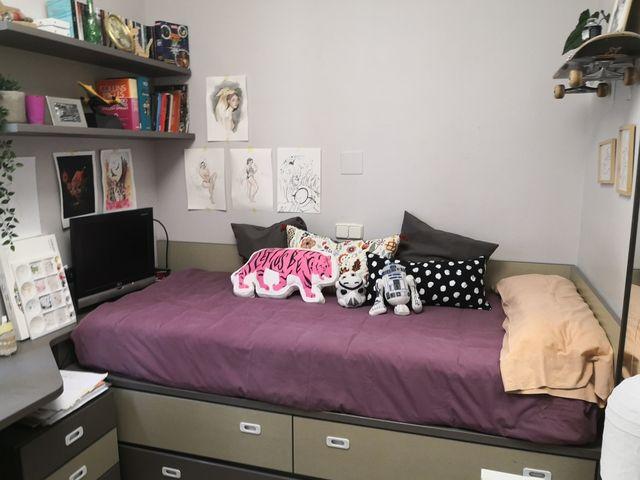Habitación juvenil (cama colchones escritorio etc)