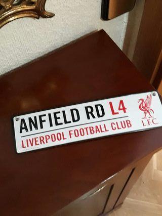 Placa de Fútbol Anfield Road Liverpool.