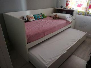 cama nido con cabecero librería a juego