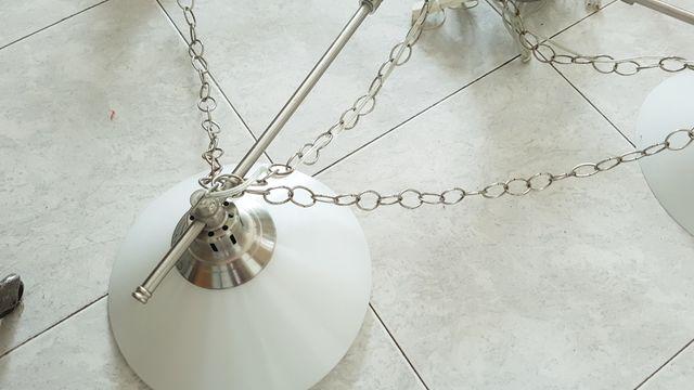 Lámpara grande acero cristal