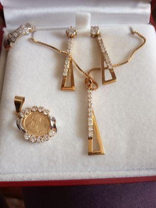 lote de Gargantilla, medalla y alianza