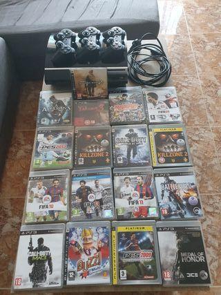 PS3 con 17 juegos 3 mandos