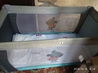 Cuna de viaje + colchón + extras