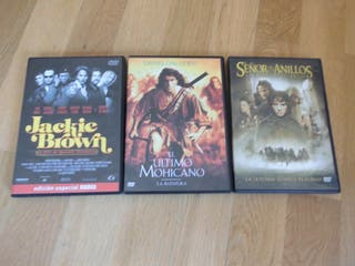 3 DVDS- SEÑOR ANILLOS, ULTIMO MOHICANO, JACKIE BRO