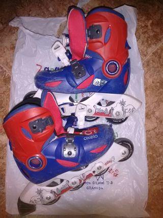 patines oxelo 28-30. rojo y azul