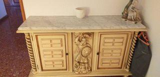 Muebles de entrada clásicos color blanco marfil-