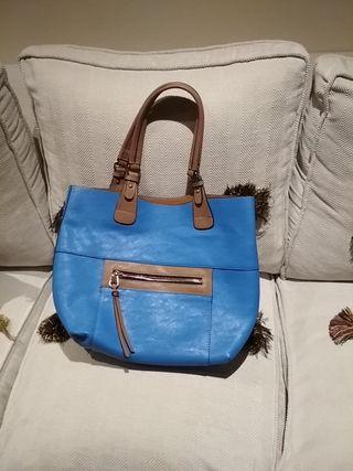 Bolso azulón y beige con bolso interior