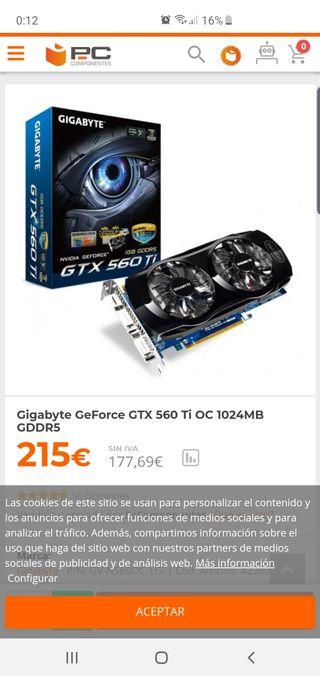 tarjeta grafica nvidia gtx 560 ti 1gb ddr5