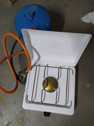 camping/cocina de gas con bombona vacía