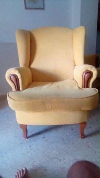 sofá antigüedad con madera roble...