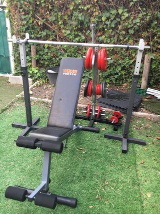 Banco, barras, soportes y pesas Salter gimnasio