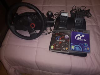 volante ps3 más dos juegos